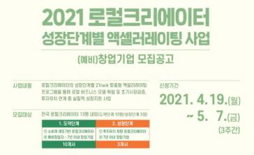 2021 로컬크리에이터 성장단계별 액셀러레이팅 지원사업 (예비)창업기업 모집